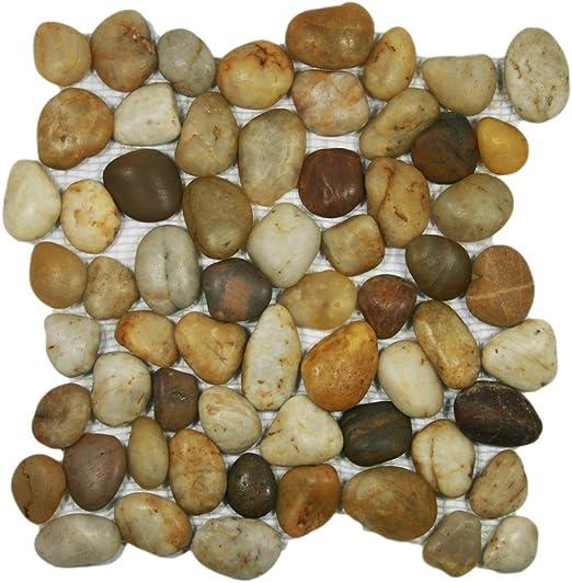 """River Rock Stone Tile Mini Polished Amber Pebble Tile 12/"""" x 12/"""""""