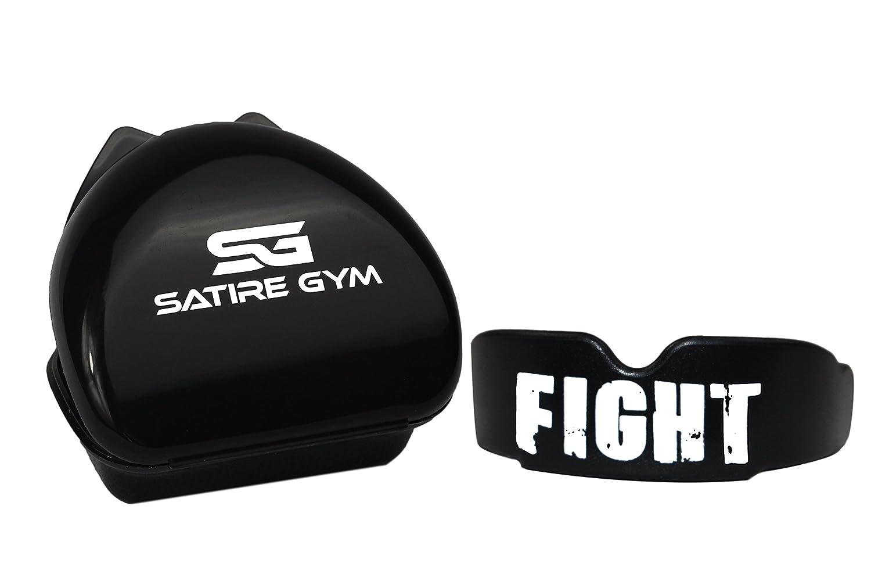 Satire Gym––Protector bucal para Cajas, Kickboxing Deportes de Lucha, MMA, Rugby, Fútbol Americano, Judo, Kárate & Hockey–Color Negro para Adultos Hombre (Negro Fight, Adult)