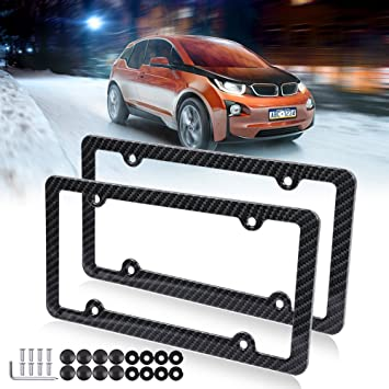 2PSC License Plate Frames Newest Matte Black Stainless Steel Car Licence Plate Covers with Black Screw Caps Applicable to CA US Standard Car Accessory Fit BMW M