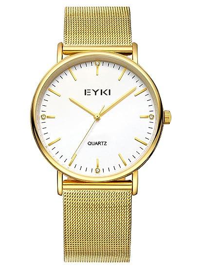 Alienwork Reloj Unisex Relojes Mujer Hombre Acero Inoxidable Oro Analógicos Cuarzo Blanco Impermeable Ultra-Delgada