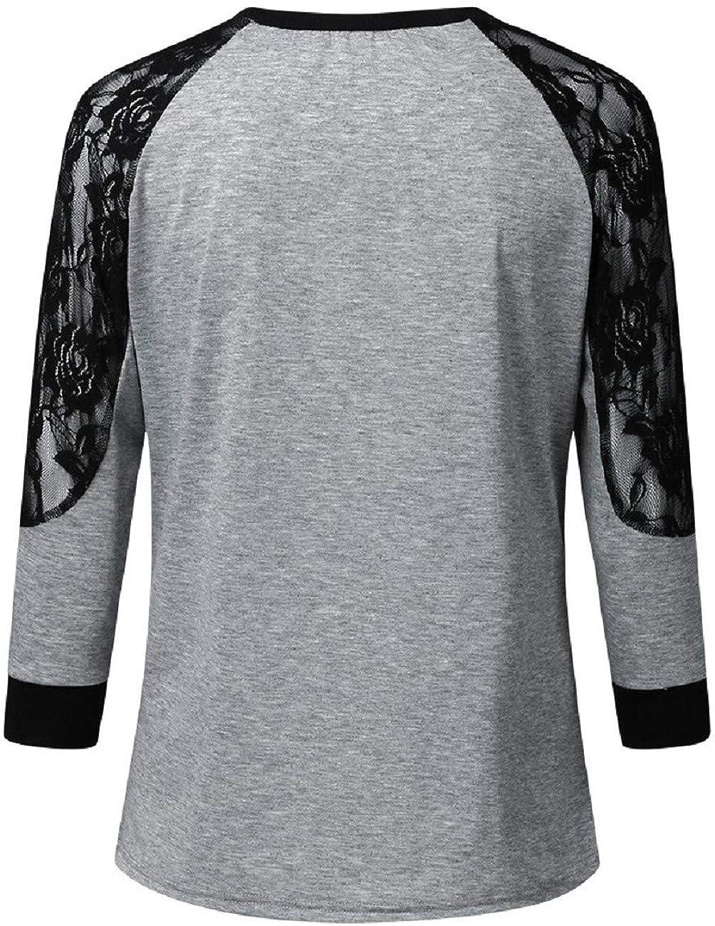 FAPIZI Women Fashion Lace Floral Splicing Long Sleeve Sweater Coat O Neck T Shirt Blouse Tops