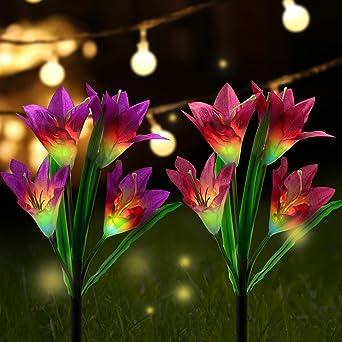 AYPOW Luces Solares de Jardín Para Exteriores, Paquete de 2 8 ...