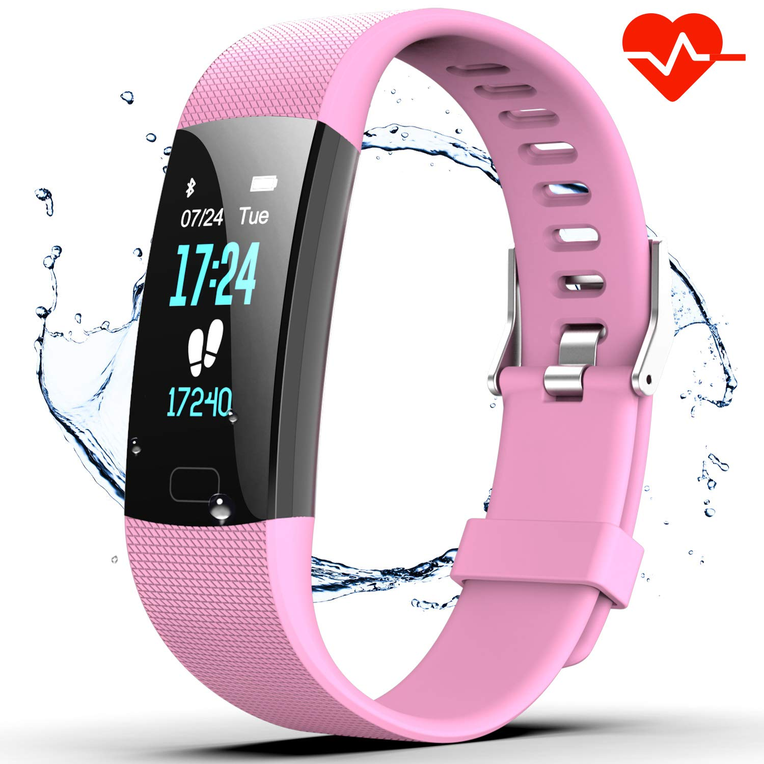 Fitness Tracker HR, Y1 Activity Tracker Watch with Heart Rate Monitor, Pedometer IP67 Waterproof Sleep Monitor Step Counter for Android & iPhone (Pink)