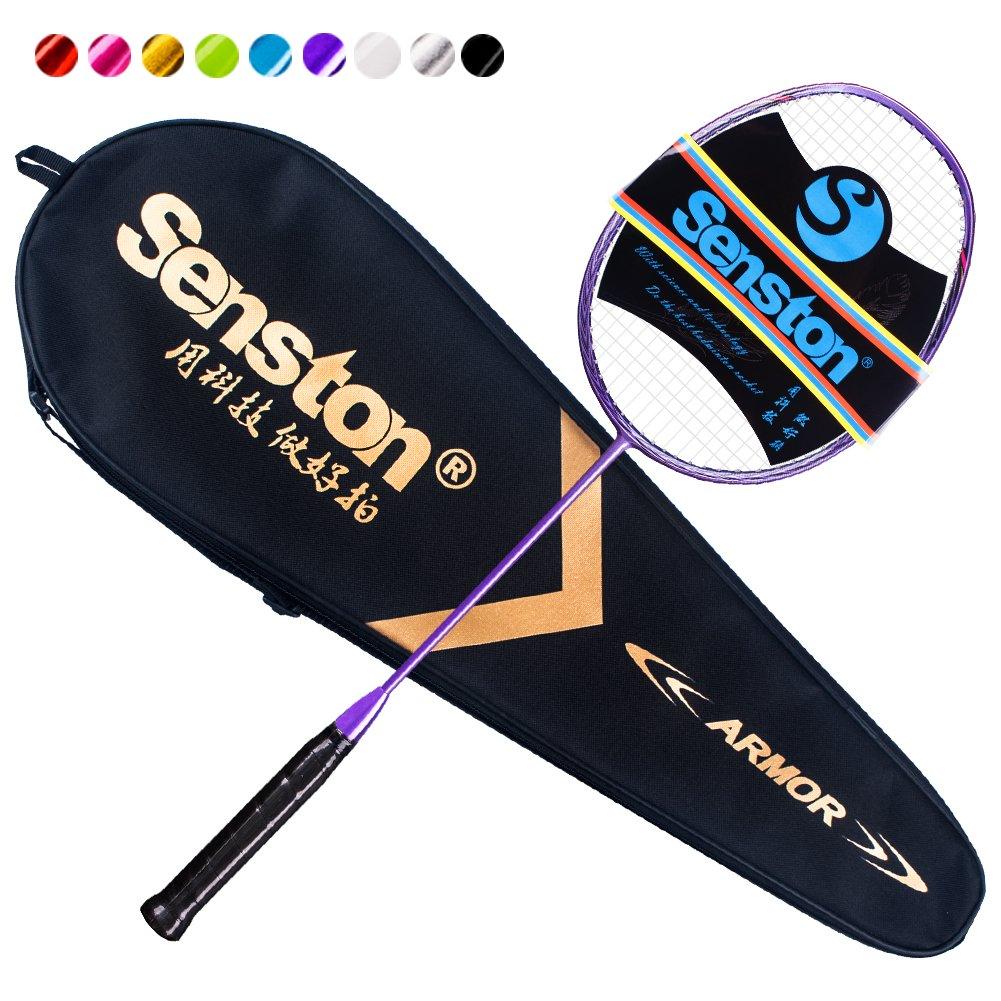Senston N80 Graphite Single High-Grade Badminton Racquet, Professional Carbon Fiber Badminton Racket, Carrying Bag Included Purple Color