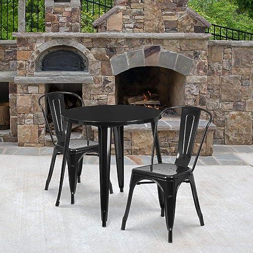 Flash Furniture Commercial Grade 30″ Round Black Metal Indoor-Outdoor Table Set