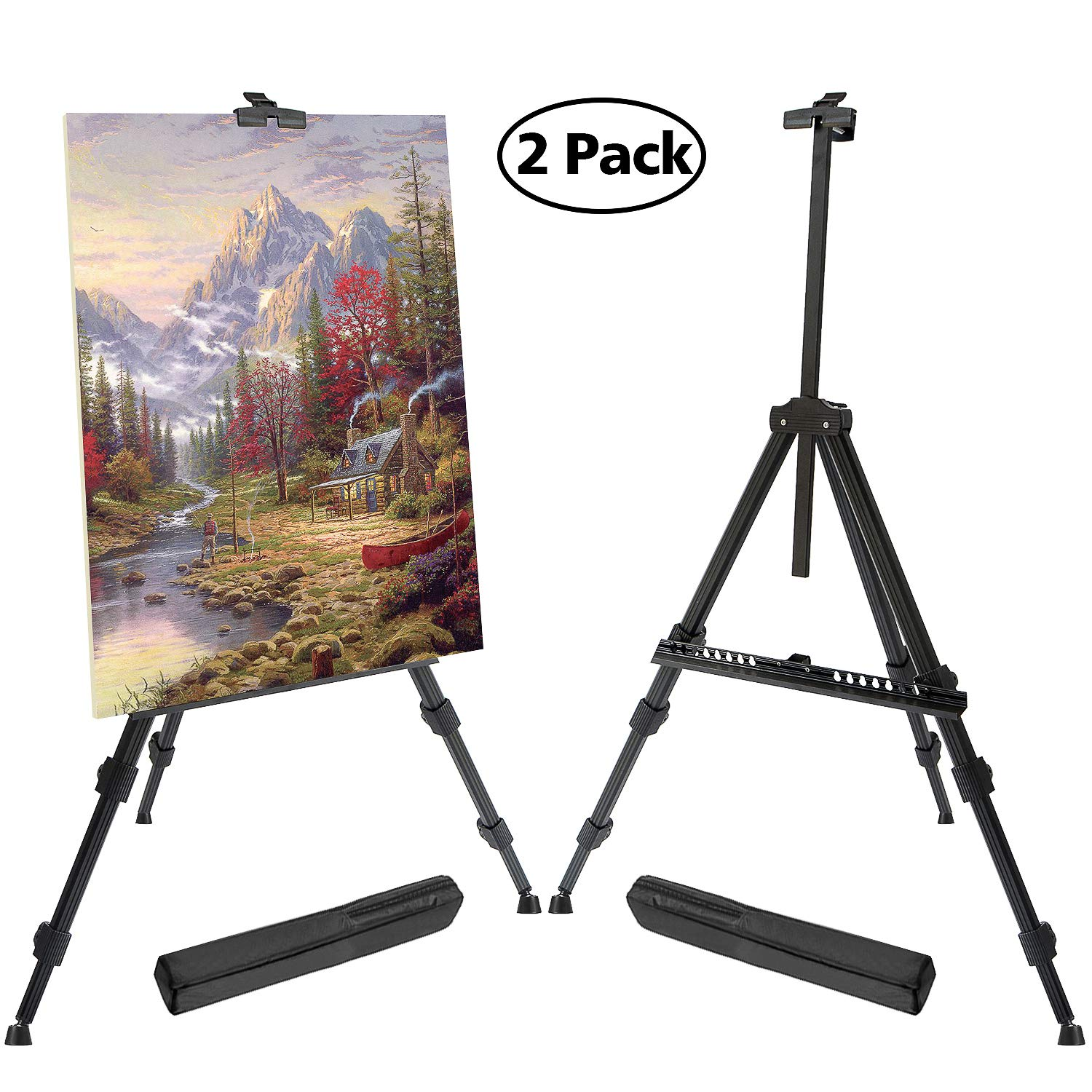 T-Sign 72'' Tall Display Easel Stand, Aluminum Metal Tripod Art Easel Adjustable Height from 22-72'', Extra Sturdy for Table-Top/Floor Painting, Drawing and Display with Bag, 2-Pack Black
