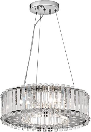 Kichler lighting 42194ch crystal skye 6 light pendent chrome finish with crystal diffuser