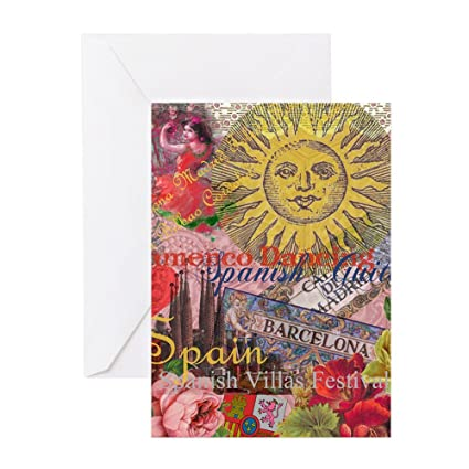 cafepress spain vintage trendy spain travel collage greeting greeting card note card