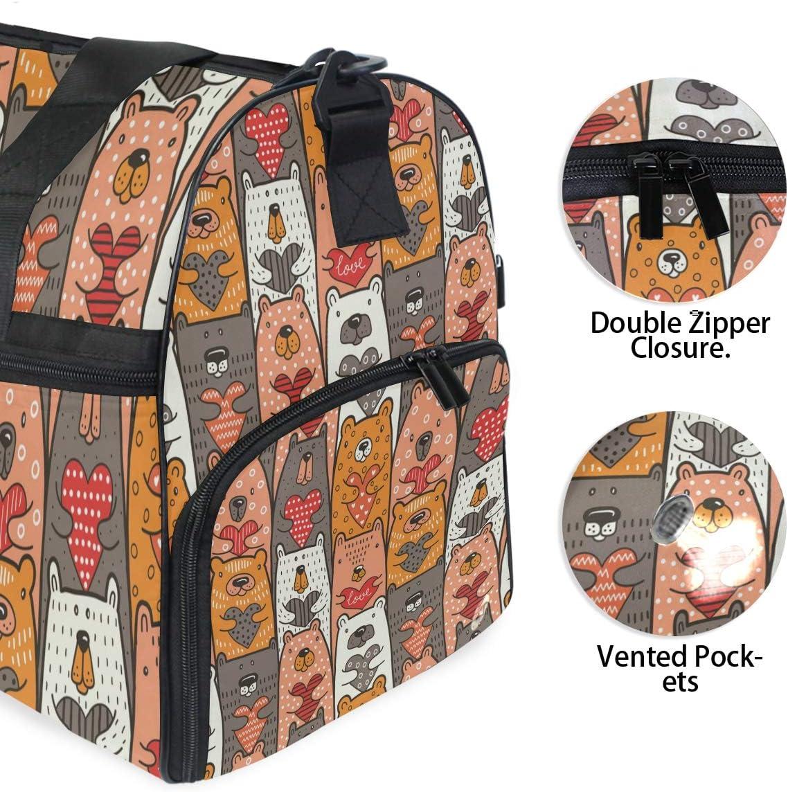FANTAZIO Cartoon Bear Holding Heart Sports Duffle Bag Gym Bag Travel Duffel with Adjustable Strap