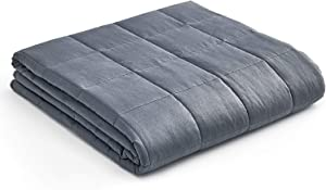 YnM Weighted Blanket — Heavy 100% Oeko-Tex Certified Cotton Material with Premium Glass Beads (Dark Grey, 60''x80'' 22lbs), Suit for One Person(~210lb) Use on Queen/King Bed