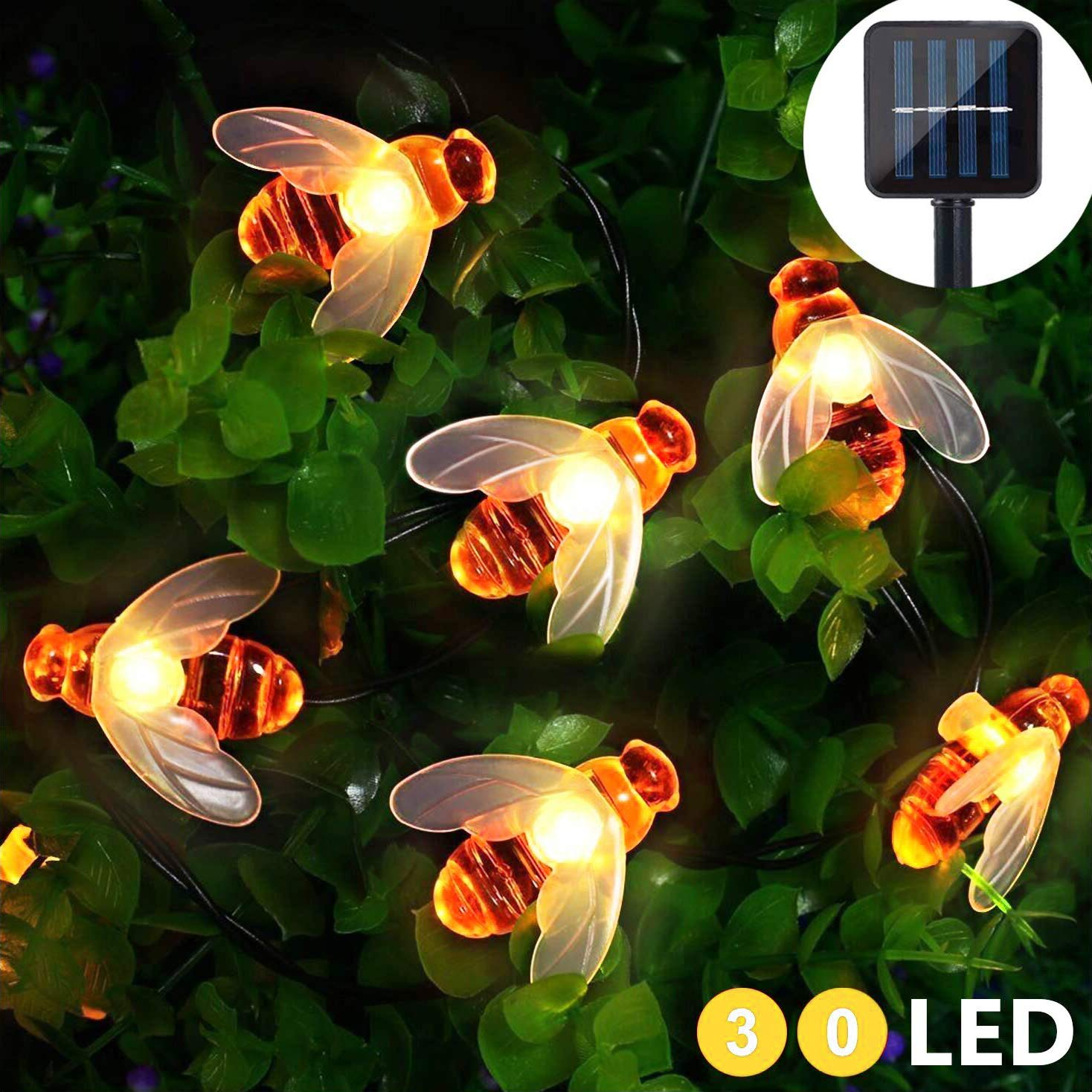 Honeybee Solar String Lights 15FT/4.5M Waterproof 30 Led Solar Powered Outside Fairy Lights Outdoor String Lights for Garden Patio Lawn Landscape Party Wedding Xmas Decoration Titiyogo