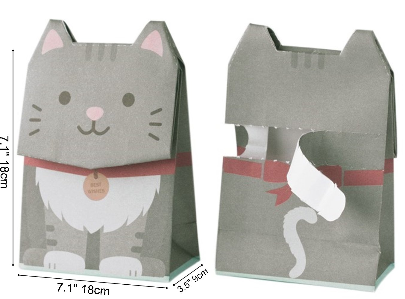 GOTOME Animal Gift Bag Origami Paper Tear to Open Gift Bag, 2017 Red Dot Desgin Award, Gray Cat, Large, 7.5x3.9x10.6 (19x10X27cm)