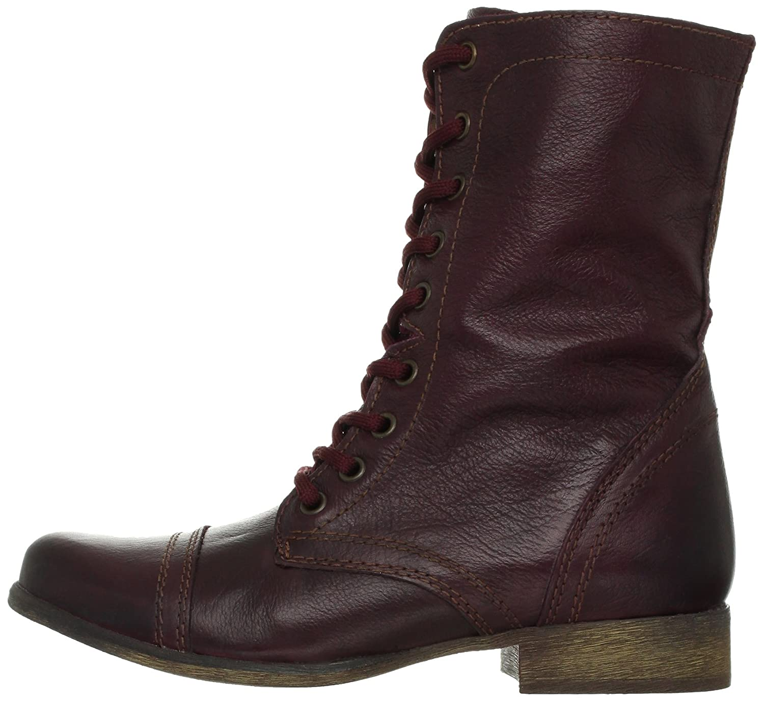 Steve Madden Women's Troopa Lace-Up Boot B00B09OQNM 7.5 B(M) US|Wine Leather