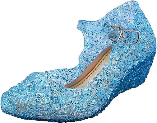 Tyidalin Niña Bailarina Zapatos de Tacón Disfraz de Princesa Zapatilla de Ballet para 3 a 12 Años Azul EU28-33