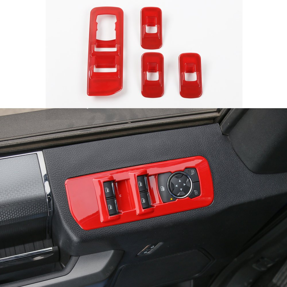 Red ABS Car Window Lift Control Panel Cover Frame Decor Trim for Ford F150 F-150 2015+ by KUJOOY