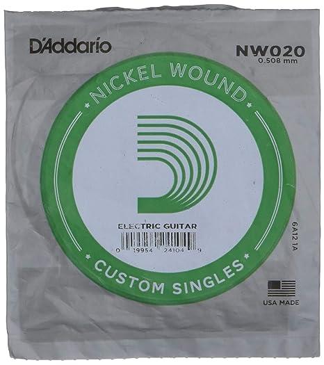 DAddario NW020 - Cuerda individual con entorchado en níquel para ...