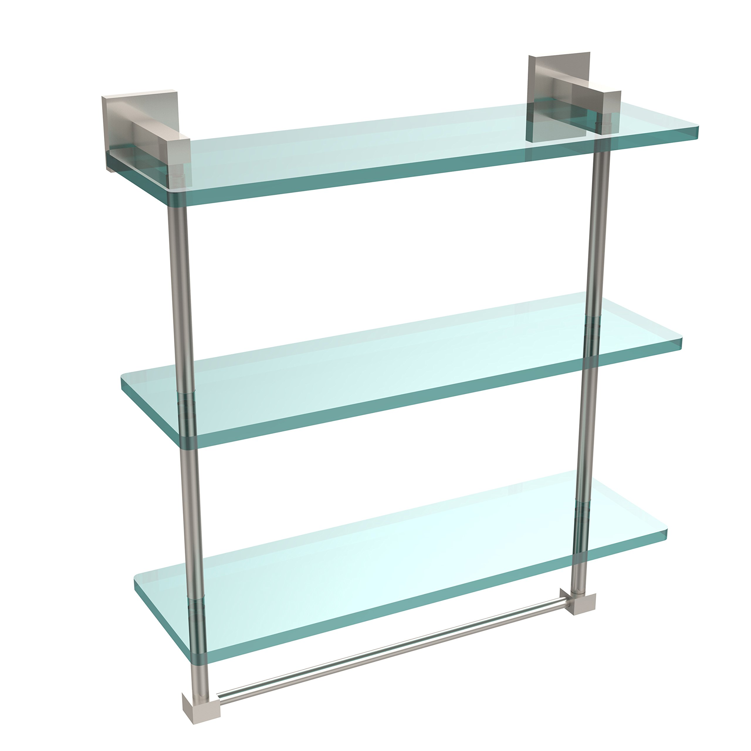 Allld|#Allied Brass MT-5-16TB-SN Montero Collection 16 Inch Triple Tiered Glass Shelf with Integrated Towel Bar,