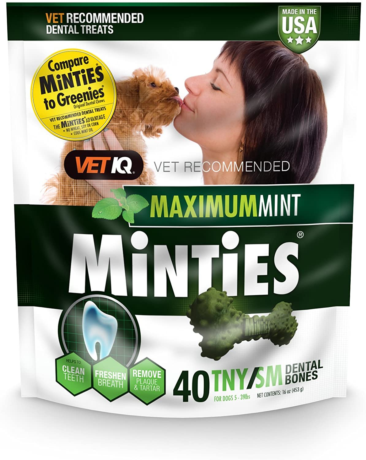 Dental Chews for Dogs, VetIQ Minties Dog Dental Bone Treats Perfect for Medium//Large Dogs Over 40 lbs