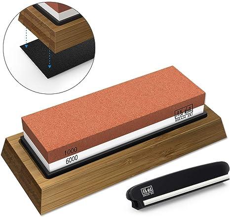 Whetstone Knife Sharpening Stone Set, Premium 2-Sided Whetstone Sharpener  1000/6000 Grit Whetstone Kit with Non-Slip Bamboo and Silicon Base Angle ...