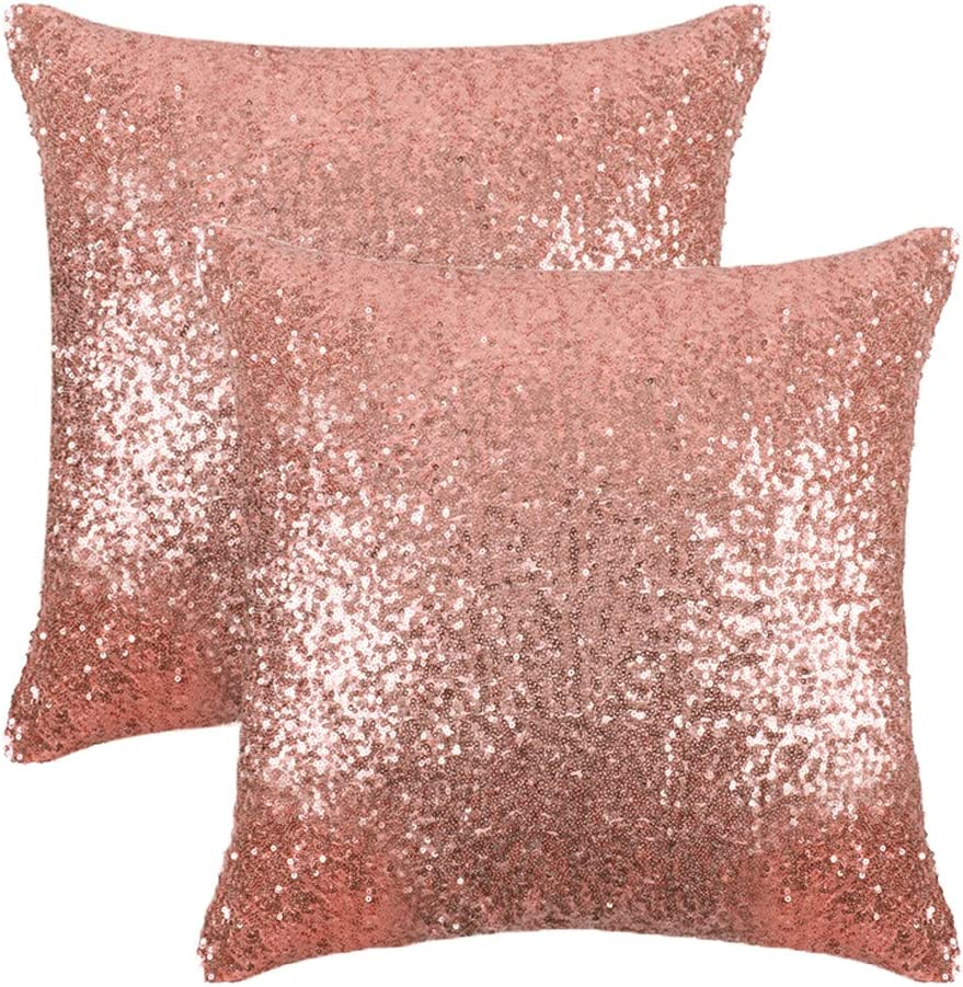 PONY DANCE Sparkling Pillow Covers - Comfy Satin Solid Sequin Fabric Throw Cusion Covers Pillowcases for Party/Christmas with Hidden Zipper, 18 inch Square, Champagne Blush, 2 Pieces