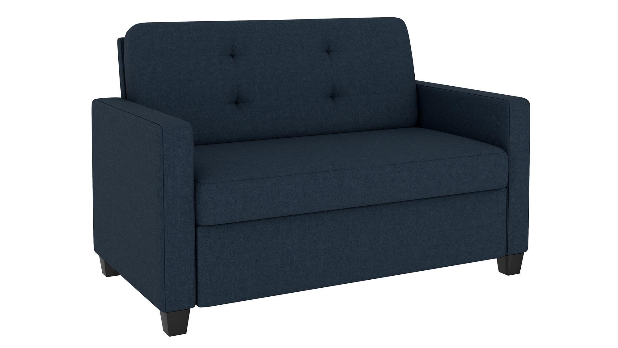 Signature Sleep Devon Sleeper Sofa with Memory Foam Mattress, Blue Linen, Twin by Signature Sleep