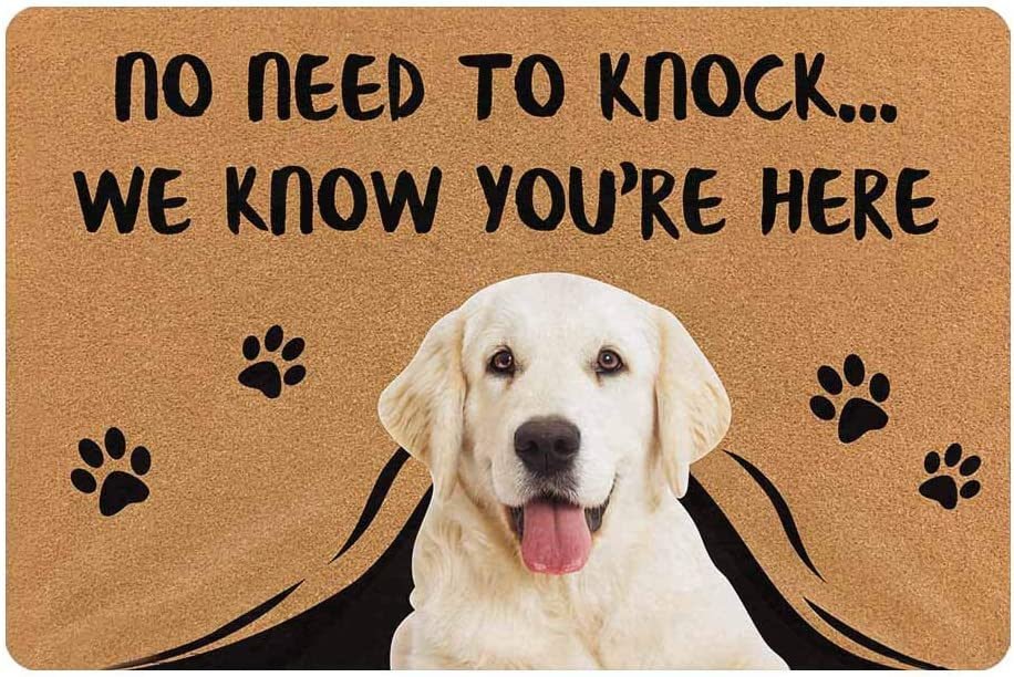 MyPupSocks Personalized Custom Doormat No Need to Knock We Know You are Here Custom Door Mats Outside Dog Face Photo
