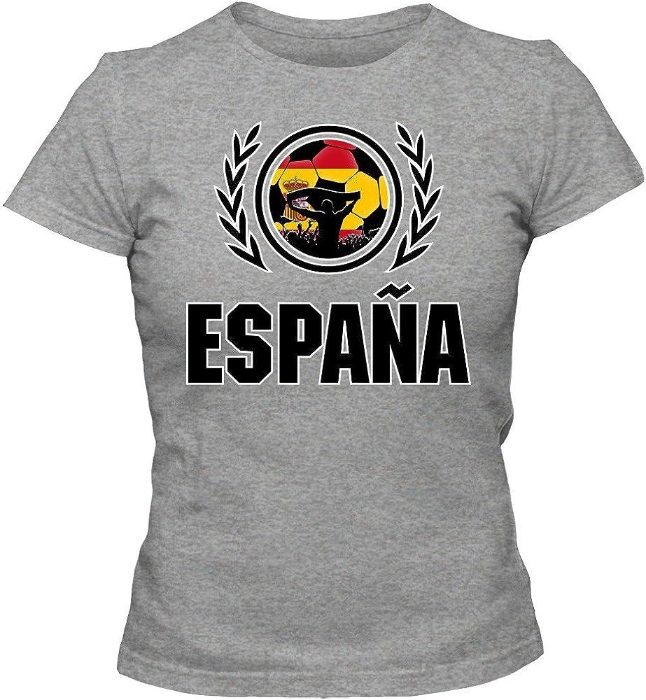 España Campeonato De Europa 2016#2 Camiseta | T-Shirt | Fútbol | Mujer | Jersey | La Furia Roja | Equipo Nacional, Colour:Grey Basic (Heather Grey Melange);Size:Small: Amazon.es: Ropa y accesorios