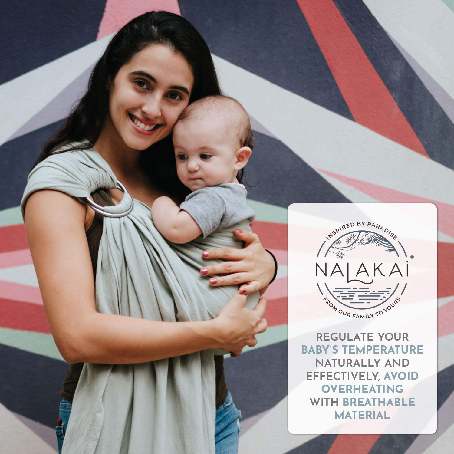 Nursing Cover Lightweight Plus Size Infant Carrier Also for Newborns and Toddlers Nalakai Luxury Ring Sling Baby Carrier Sand Perfect Baby Shower Gift Extra-Soft Bamboo and Linen Fabric