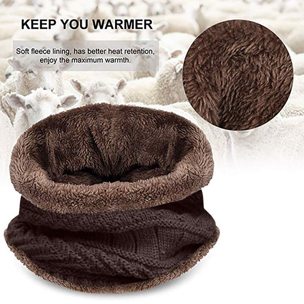 Pollyhb 2-Pieces Winter Beanie Hat and Scarf Set Thick Fleece Lined Multifunction Warm Knit Windproof Skull Cap Hats for Men Women Gift Khaki