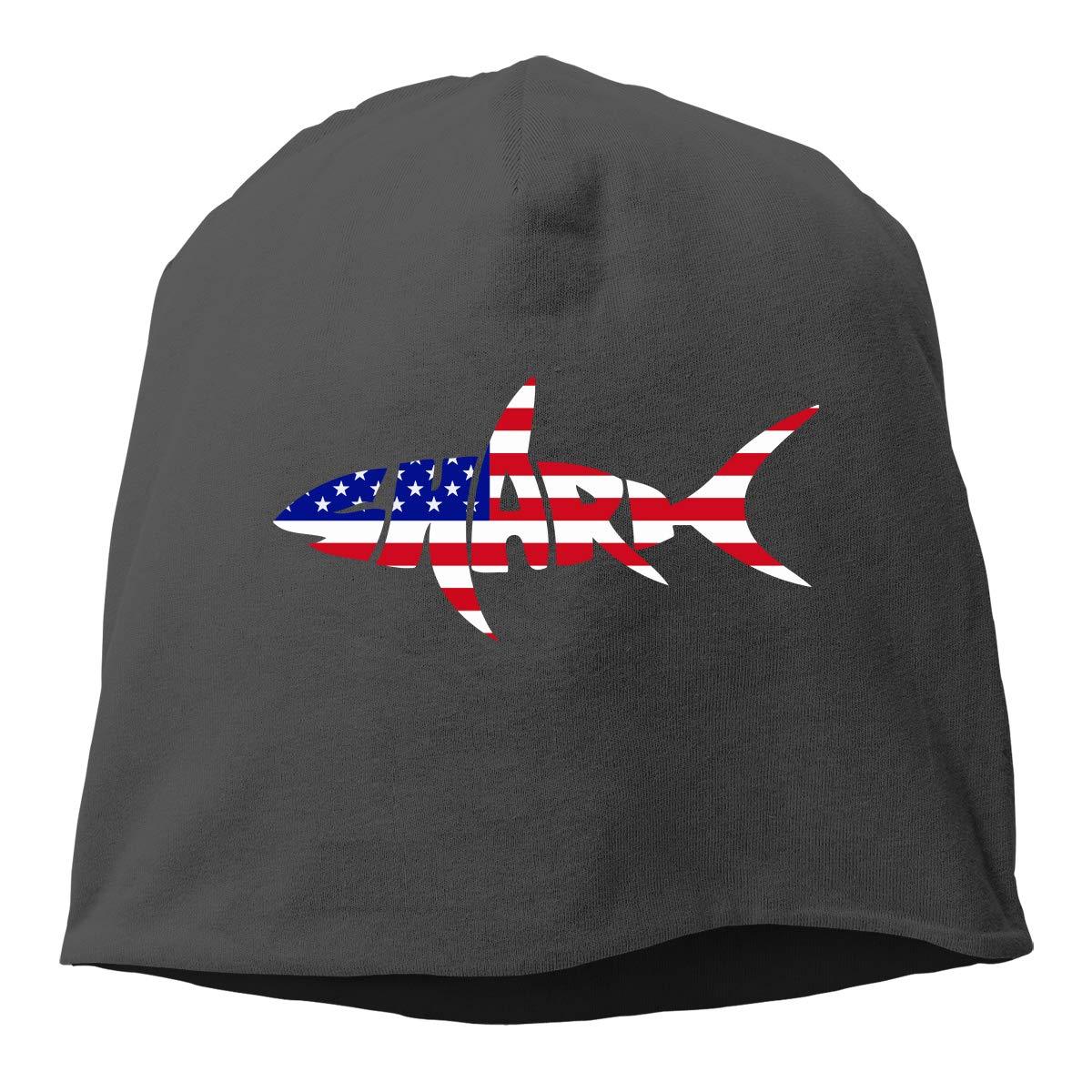 USA Flag Shark Letter Beanie Skull Cap for Women and Men Winter Warm Daily Hat