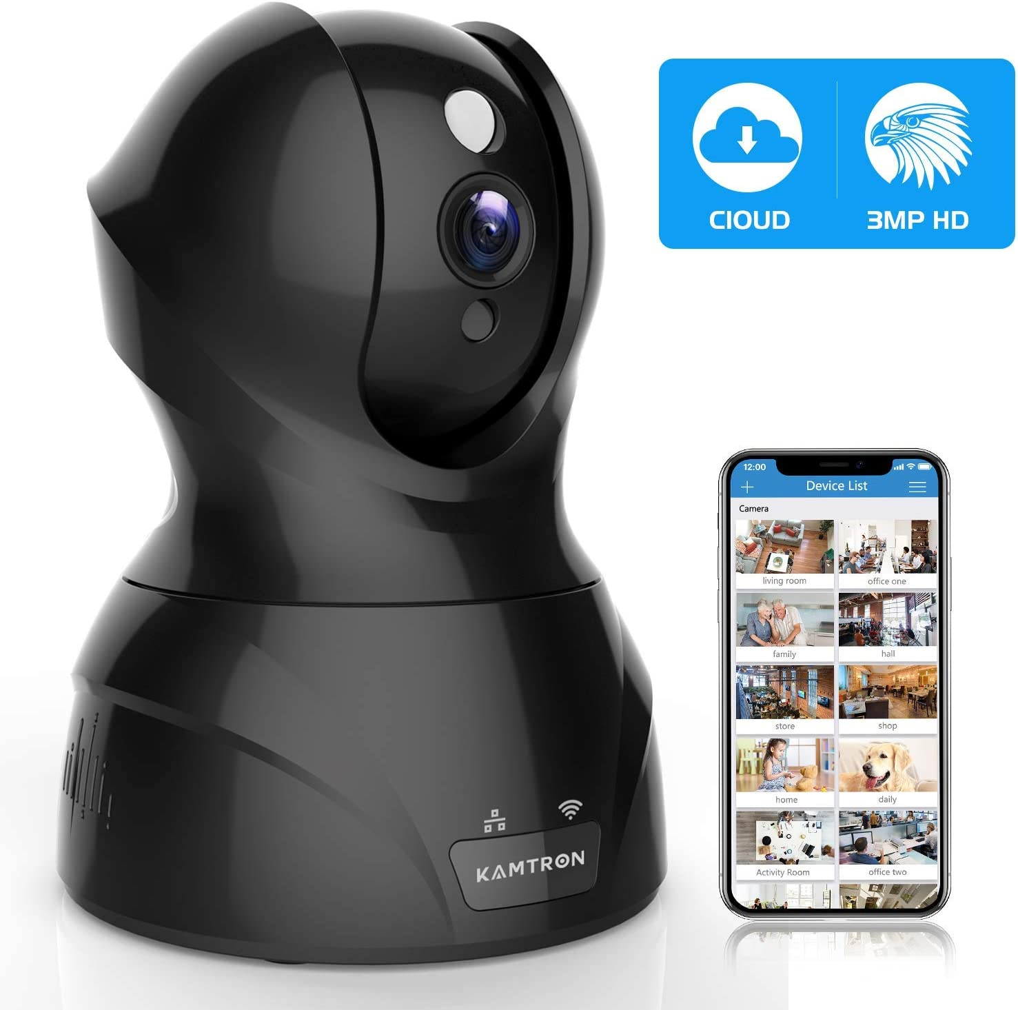 Security Camera Pet WiFi Camera – KAMTRON 1536P Indoor Wireless IP Camera Full HD 3MP Home Video Surveillance System with IR Night Vision, Motion Detection and Two-Way Audio – Cloud Storage