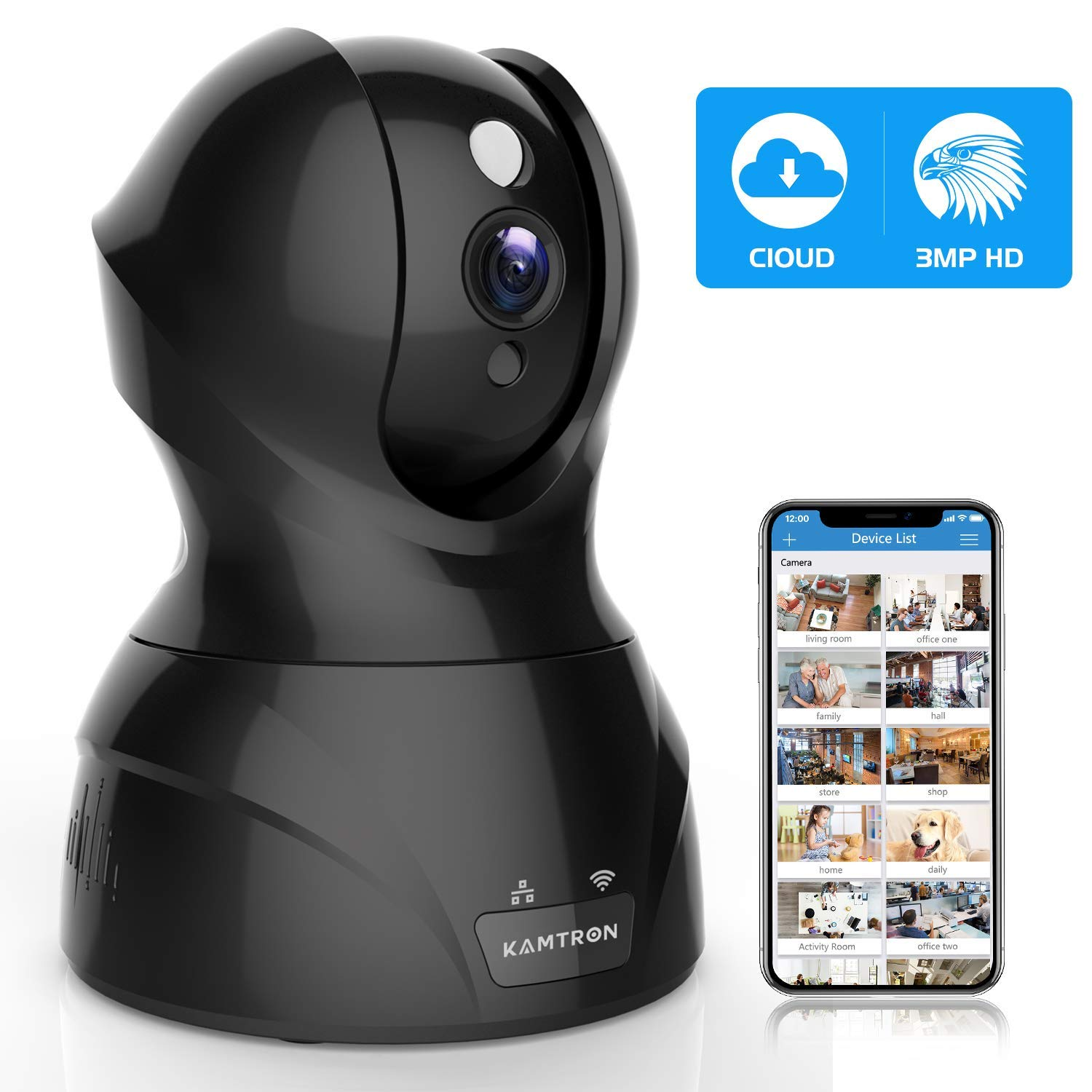 WOOKRAYS Home Security IP Camera, WiFi Wireless Network HD Camera with Motion Tracker Night Vision Remote Monitor, iOS Android 1080P