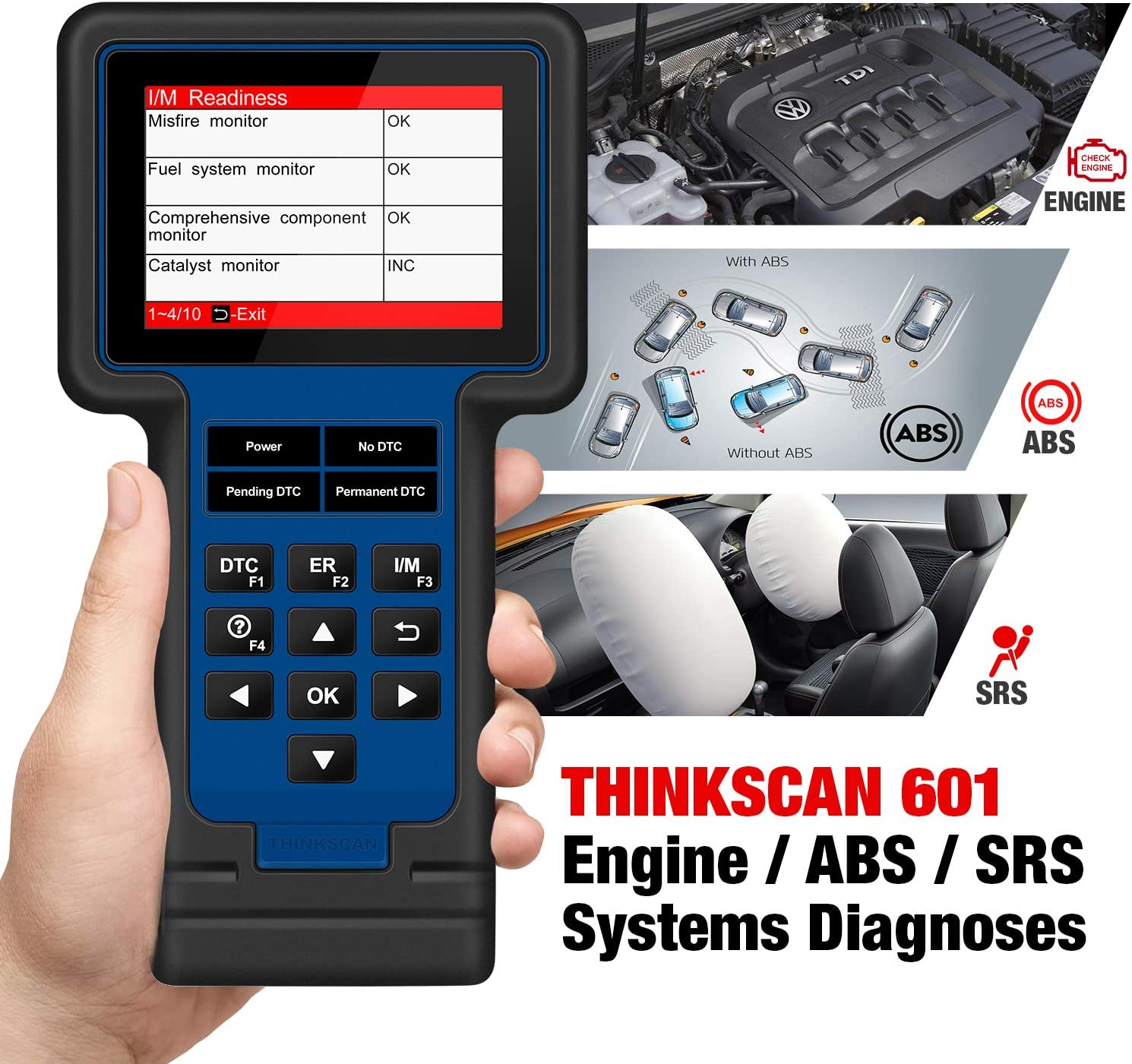 Live Data Stream Graph,Lifetime Free Update thinkcar TS601 OBD2 Scanner ThinkScan 601 Code Reader Automotive Scan Tool for Engine ABS SRS Systems with Oil EPB SAS TPMS Reset