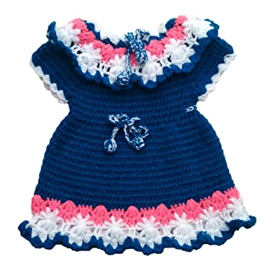 f013f5dce PMG Woolen Frock Sweater for 12-18 months baby girl Blue White ...