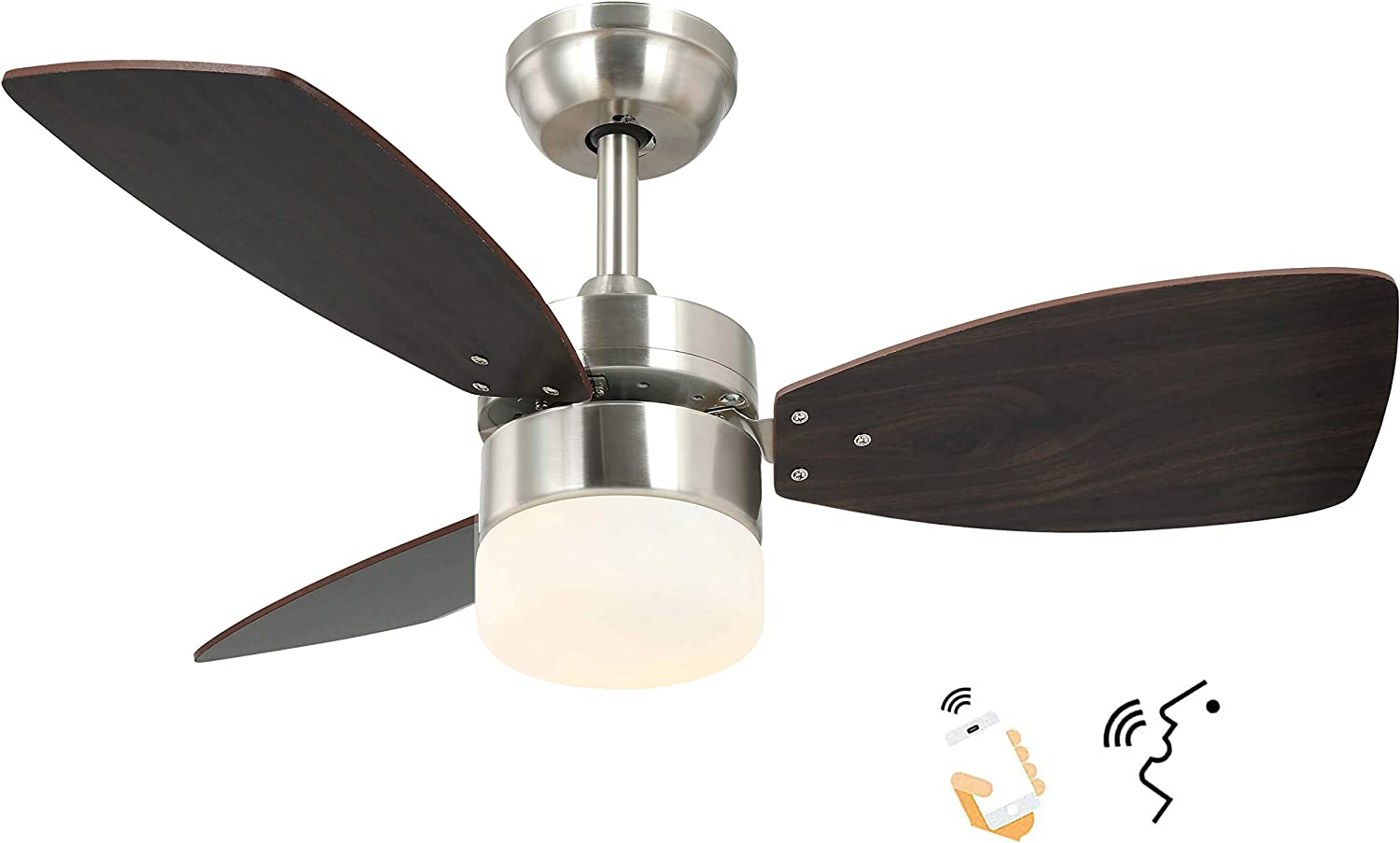 36 Inch Smart Alexa Ceiling Fan Work with Alexa and Google Assistant for Kitchen and Bedroom, Dual-Finish Wood Blades and White Glass lampshade.