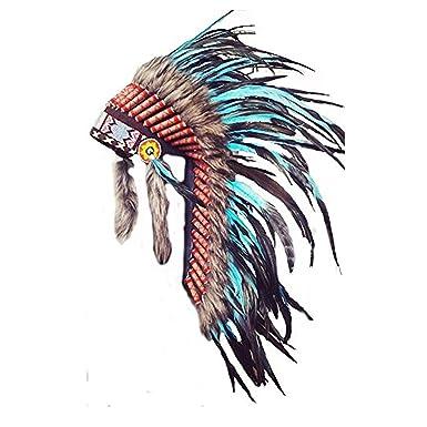 Y33 - Sombrero Indio mediano de color Turquesa / penacho / tocado de ...