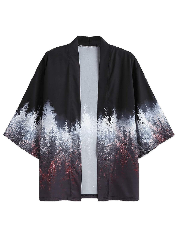 ZAFUL Chaqueta Kimono para Hombre, Estilo japonés, Manga 3/4 ...