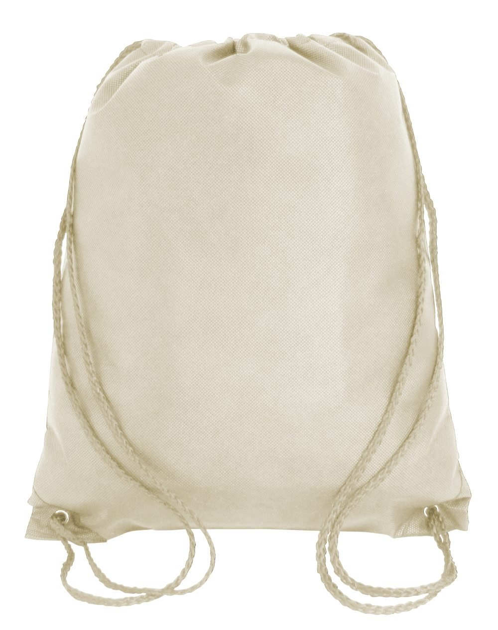 Drawstring Tote Backpack Non-Woven Cinch Sack Bag Swim Camp Party Favor 25 Pack (Natural)