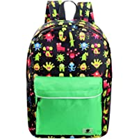 Backpacks for Little Girls, Boys, Kids by Fenrici, 16 Inch Book Bags with Water Bottle Pocket for Preschooler, Kindergartener, Support a Great Cause (Green Cute Monster)