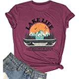 Lake Life Shirts for Women Funny Vacation Graphic Tee Summer Casual Short Sleeve Tops