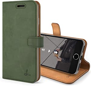 Snakehive Vintage Wallet for Apple iPhone SE (2020) || Real Leather Wallet Phone Case || Genuine Leather with Viewing Stand & 3 Card Holder || Flip Folio Cover with Card Slot (Dark Green)