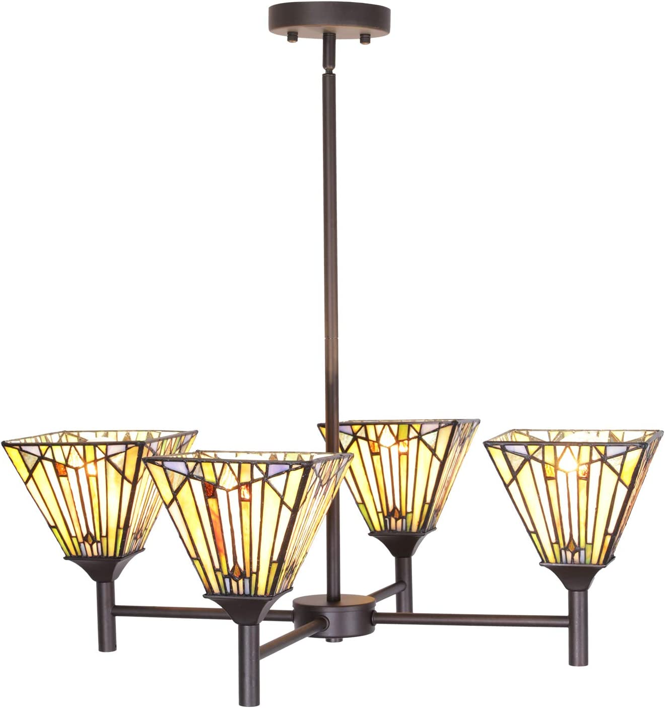 VINLUZ Tiffany Chandeliers 4 Light Stained Glass Shade Kitchen Island Pendant 6-inch, Traditional Retro Ceiling Light Fixtures Hanging for Dining Room Living Room Bedroom