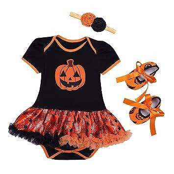 feeshow 4pcs baby girls tutu romper outfits halloween pumpkin costume with headband leg warmer shoes