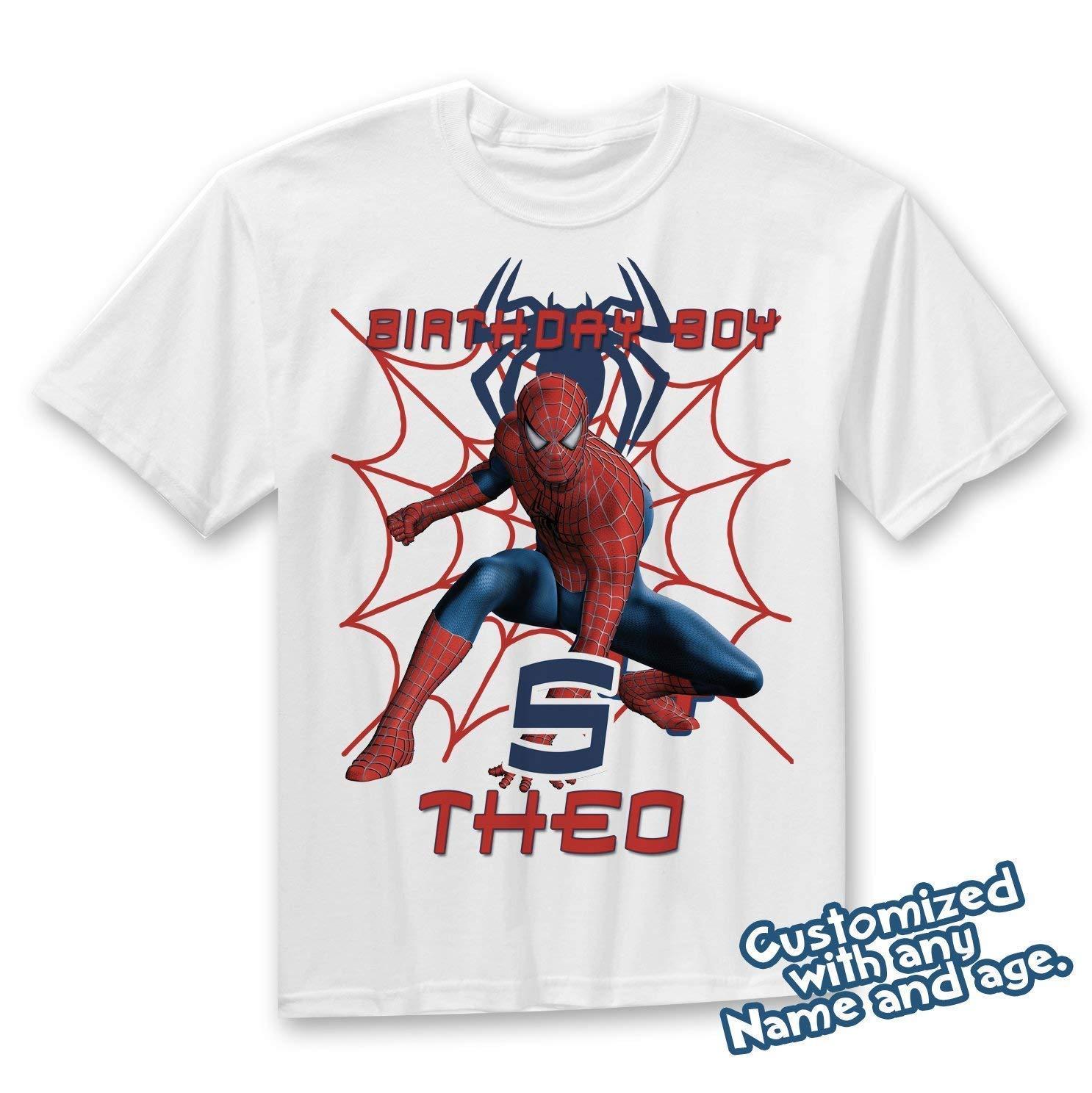 b8d625c32 Amazon.com: Spider-man Birthday Shirt Add Name & Age Spiderman Custom  Birthday Party TShirt: Handmade
