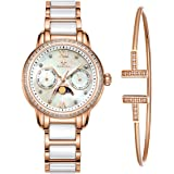 MAMONA Women's Rose Gold Chronograph Watch & Bracelet Set StainlessSteel/Ceramic with Calendar L58010RGGT