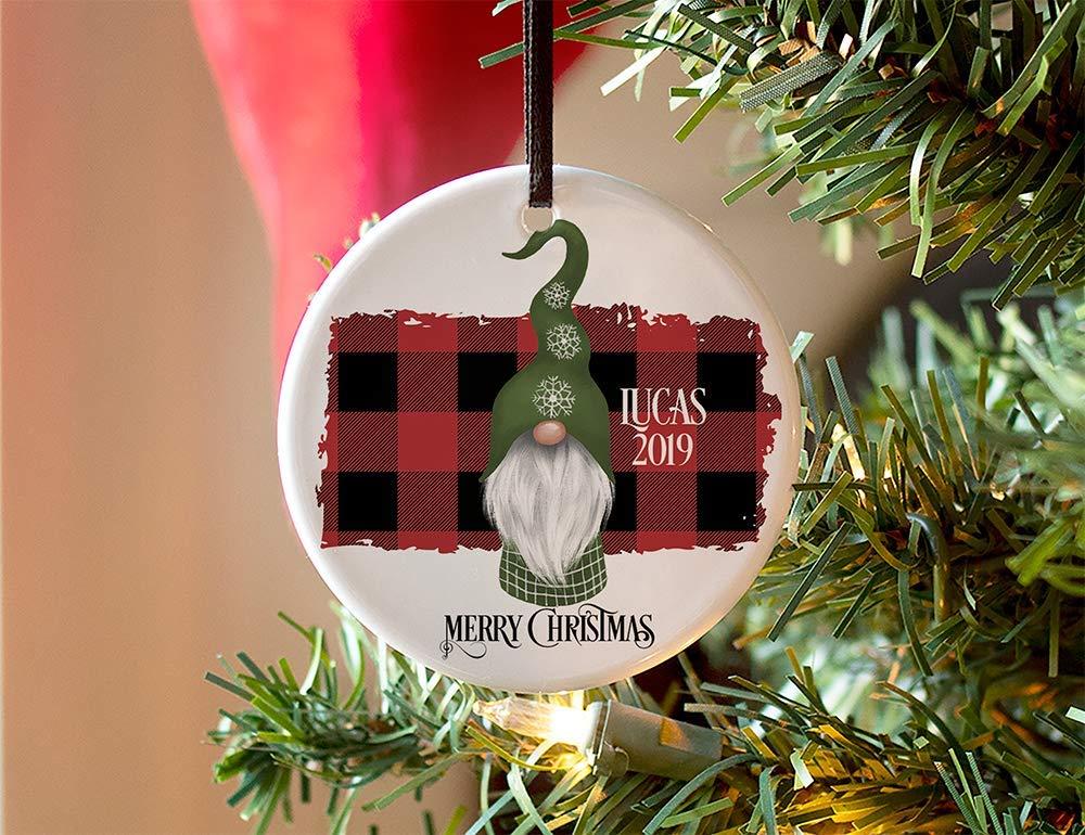 Personalized Gnome Christmas Ornaments, Santa Gnome Christmas Tree Ornaments, Ceramic Gnome Ornament