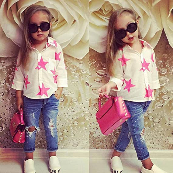 cbe78cd3907a Amazon.com  Toddler Kids Baby Girl Star T Shirt Tops+Hole Denim Pants 2Pcs  Clothes Set Vibola  Clothing