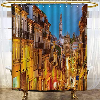 Lacencn EuropeanShower Curtains Digital PrintingCityscape Toward Old Buildings In Porto Mediterranean Town