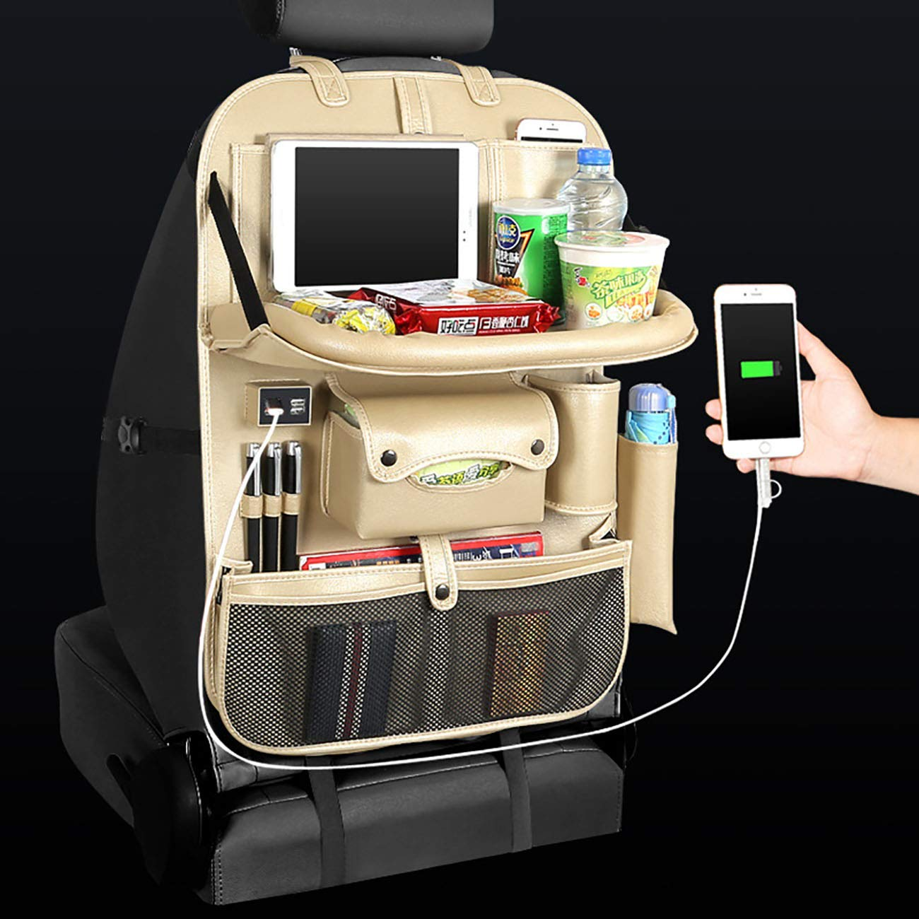 Car Back Seat Brown Organizer ipad Tablet Holder Storage Kick Mats Kids Tidy