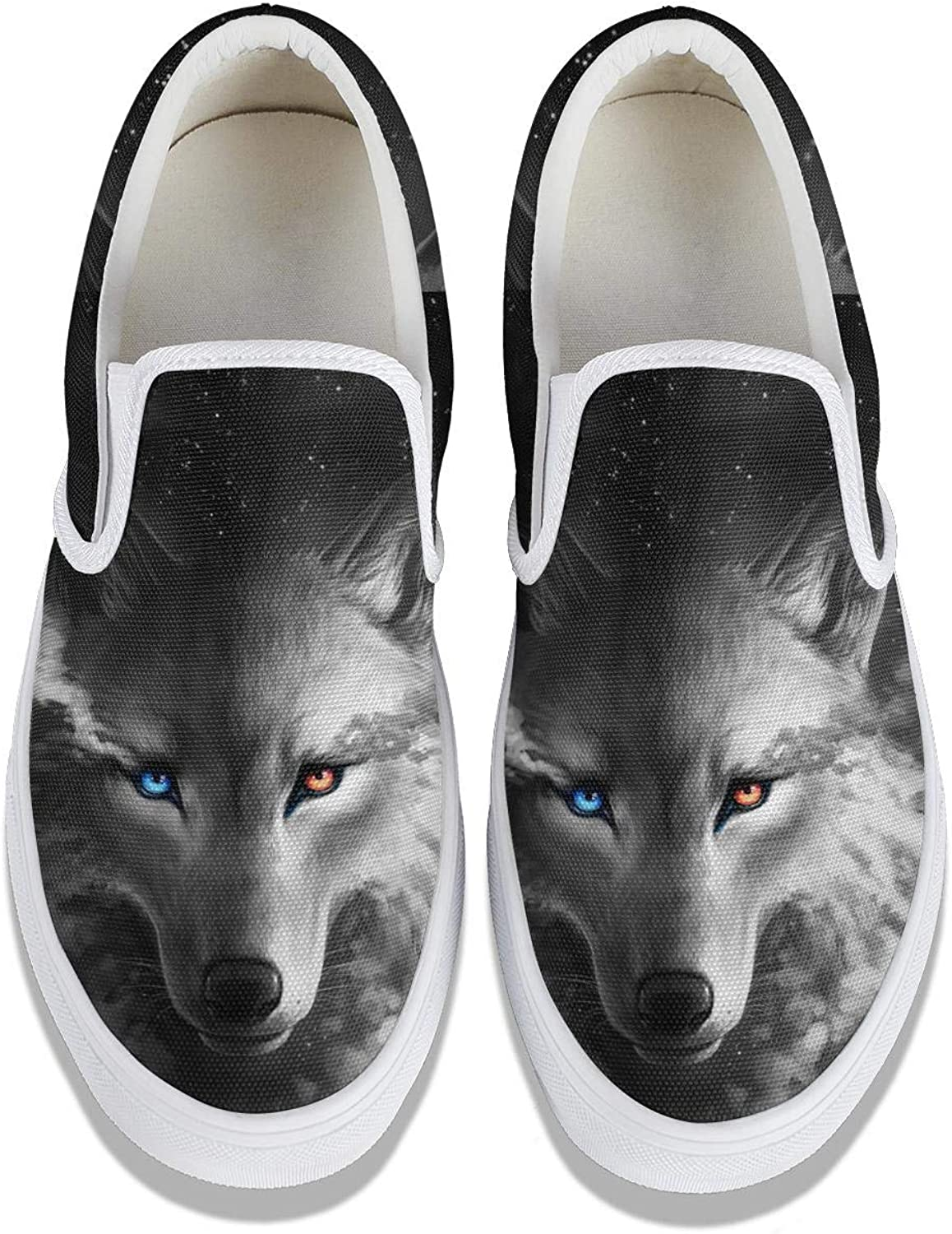 Skate Womens Canvas Shoes Wolf in Blue Fire 3D Print Sneakers for Women Loafers Rubber Sole Slip Ons